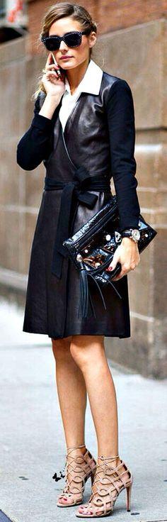 Street fashion style chic...... Leather DVF wrap dress Olivia Palermo Street Style.