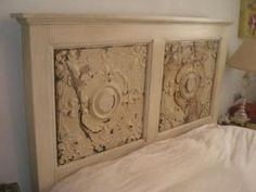 Headboard with antique tin ceiling tiles