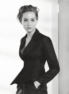 Jennifer Lawrence work chic blazer and skirt black and white photography