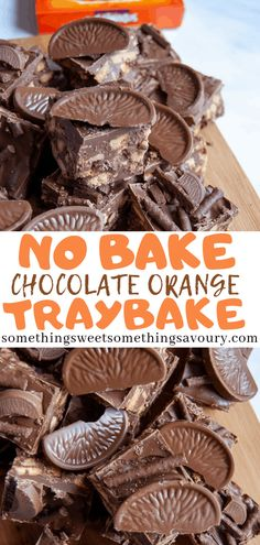 No Bake Chocolate Orange Traybake – This no bake chocolate orange traybake is stuffed full of biscuits, orange Aero and Terry's chocolate orange pieces! It's absolute heaven for chocolate orange lovers. Perfect for bake sales, parties or a weekend treat! Chocolate Biscuit Cake, Chocolate Desserts, Fun Desserts, Dessert Recipes, Chocolate Topping, Chocolate Fondue, Tray Bake Recipes, Baking Recipes, Easy No Bake Recipes