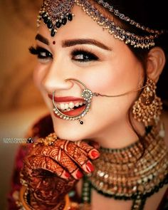 A is the Prettiest thing you can wear. Such a Bridal Portraits of the beautiful Bride. Indian Bride Poses, Indian Bridal Photos, Indian Bridal Outfits, Indian Bridal Fashion, Bridal Dresses, Indian Wedding Makeup, Indian Wedding Bride, Indian Makeup, Bridal Nose Ring