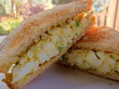 """Plain Chicken: The Masters Egg Salad MASTERS Augusta egg salad. one person said, """"THE best egg salad sandwich I've ever had! Making this for lunch today!"""" It is the perfect sandwich for watching The Masters this weekend Egg Salad Sandwiches, Soup And Sandwich, Sandwich Recipes, Salad Recipes, Chicken Sandwich, Steak Sandwiches, Think Food, I Love Food, Good Food"""