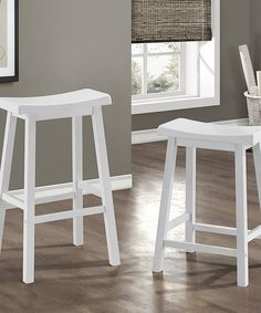 Love this 24'' White Saddle Seat Bar Stool - Set of Two on #zulily! #zulilyfinds