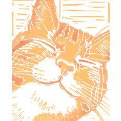 Happy Ginger Cat - Original linocut print £25.00