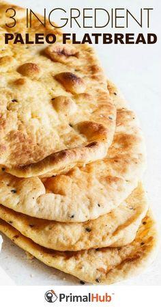 3 Ingredient Paleo Flatbread #paleo #flatbread #glutenfree #grainfree #healthy #bread