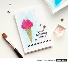 Send sweet birthday wishes using the Hero Arts Ice Cream Color Layering set