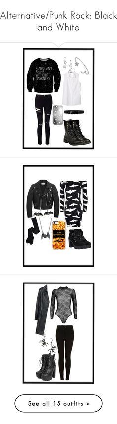 """Alternative/Punk Rock: Black and White"" by mirandabakker ❤ liked on Polyvore featuring Bling Jewelry, Banana Republic, Tiffany & Co., Rianna Phillips, Miss Selfridge, IRO, Boohoo, T.U.K., Yves Saint Laurent and Alchemy England"
