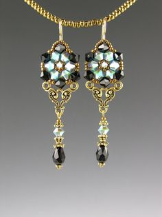 Crystal Chandeleir Earrings by Beaded Art Jewelry