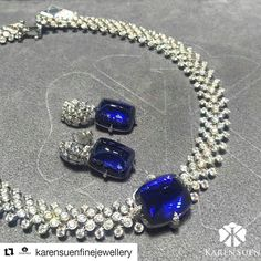 Monday blues can't look more vibrant! A tanzanite and diamond necklace and earrings on display at Hong Kong Jewellery Show #KarenSuenFineJewellery