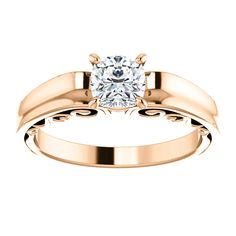10kt Rose Gold 5mm Center Cushion Cubic Zirconia Engagement Ring...(ST71691:476:P).! Price: $299.99