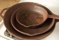 How To Clean and Season Old, Rusty Cast Iron Skillets:   1. Place your rusty skillet in the sink and sprinkle a couple tablespoons of salt into it. 2. Take your chunk of potato and start scrubbing. The moisture from the potato will be enough to help the salt dig in to the rust. Come and join my group for more great ideas, recipes, support , motivations and much more www.shrinkingheatherj.com