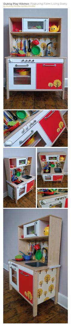 Ikea duktig play kitchen hack | toddler kitchen | ferm living mustard dotty wallpaper
