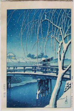 iamjapanese:    KAWASE Hasui(川瀬 巴水 Japanese,1883-1957)  Evening Snow at Edo River 雪の江戸川 1932  Woodblock