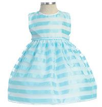 Flower Girl Dress Style 214- Sleeveless Striped Organza Dress