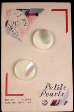 ButtonArtMuseum.com - Rare Antique Pearl MOP Shank Buttons Original Color Graphic Store Card Girl