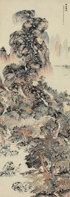 """FAIRY PAVILION IN MOUNTAIN"" - Artist: Wen Boren(1502-1575) - Dynasty: Ming Dynasty (1368-1644)"