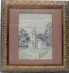 """GUIGNARD - """" Capela de vilarejo"""" Nanquim aquarelado, Assinado canto inferior esquerdo De"""