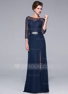 Sheath/Column Off-the-Shoulder Floor-Length Chiffon Mother of the Bride Dress With Beading Sequins Split Front (018025501) - JJsHouse