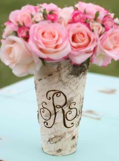 Cute monogrammed vase, @Lindsay Grace & @Kelly Chase we can make this for SMG!