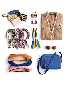 J.Crew women's coin purses in Italian leather, dragonfly crystal earrings, crystal fan earrings, V-neck cardigan with floral patch, Italian silk square scarves, Italian leather bag tags, Jane sunglasses, Gemma suede flats with contrast trim and Signet bag in Italian leather.