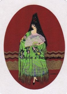SE36 LOVELY lady swap playing cards MINT CONDITION Art Deco Spanish lady & fan