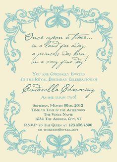 Cinderella  Printable Birthday Invitations by PaperCutCouture, $15.00
