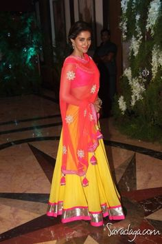 Actor Asin in a colorful Ghagra (Skirt), Choli (short Blouse) & Dupatta (long Scarf)