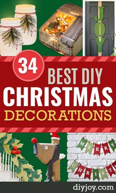 DIY Christmas Decorations - Easy Handmade Christmas Decor Ideas - Cheap Xmas Projects to Make for Holiday Decorating - Home, Porch, Mantle, Tree, Lights Diy Christmas Decorations Easy, Christmas Centerpieces, Holiday Decorating, Dyi Decorations, Diy Ornaments, Decorating Ideas, Dollar Store Crafts, Diy Crafts To Sell, Sell Diy