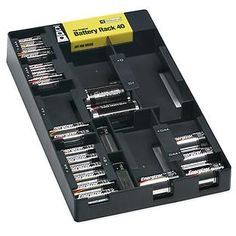 Use our Battery Rack Organizer to keep all of your batteries in one place for instant accessibility.  It can be used in a drawer, on a shelf or mounted to a wall.  A built-in battery tester helps you determine the remaining strength of a battery's charge.