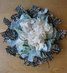 Sewing Fabric Flowers This tutorial has cool gadget to make, to make these.I like the idea of using trims for this.sometimes I am not a fan of fraying fabric. Fleurs Style Shabby Chic, Shabby Flowers, Lace Flowers, Fabric Flowers, Fabric Brooch, Fabric Ribbon, Fabric Flower Tutorial, Fabric Jewelry, Flower Jewelry