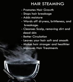 Steaming allows you to add moisture to your hair promoting longer and healthy hair growth. When your hair does not receive any moisture and is dry it will become dull, brittle, and break. Hair steami…More Natural Hair Tips, Natural Hair Growth, Natural Hair Journey, Natural Hair Styles, Natural Oils, Stop Hair Breakage, Hair Straightening, Black Hair Care, Healthy Hair Growth