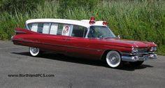 Dan Skivolocke's 1959 Superior Cadillac Royale ambulance struts its stuff for the photographers.