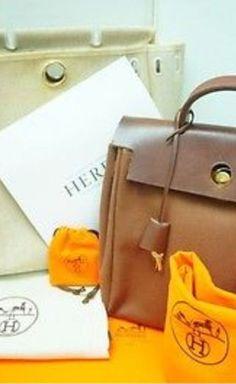 14c37daf89c6 Hermès Creme Chocolate Brown Backpack