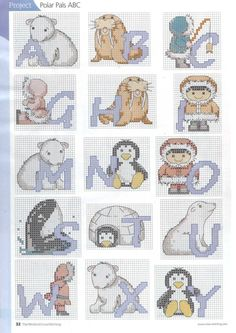 Cross-stitch Arctic Antics ABCs, part 2... color chart on part 3...    Gallery.ru / Photo # 3 - 6 - irinika