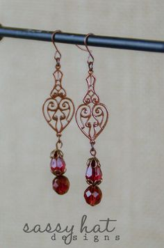 Cooper Filigree Dangle Earrings with Magenta and Bronze Accents by SassyHatCF on Etsy