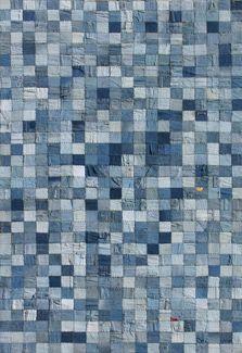 denim patchwork quilt #GISSLER #interiordesign