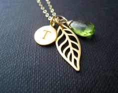 gold leaf initial necklace custom birthstone necklace, bridesmaid gift by NYmetals, $46.50