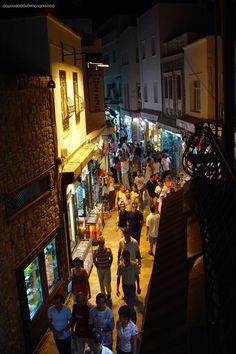 One of Bodrum's narrow streets by night
