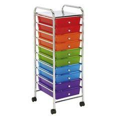 J.Burrows 10 Drawer Chrome Trolley Multi Colour Brights