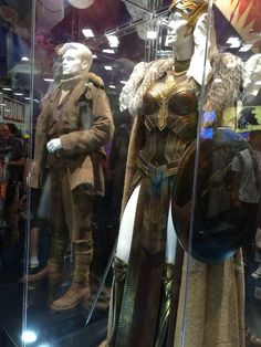 Costumes for Steve Trevor (Chris Pine) and Wonder Woman (Gal Gadot) for the forthcoming Wonder Woman movie