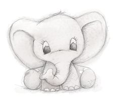 Cute elephant by Clare Thompson