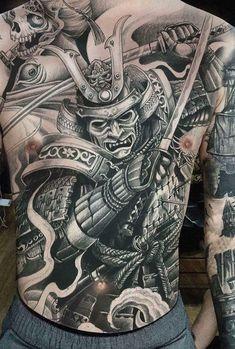Samurai Back Tattoo, Samurai Warrior Tattoo, Warrior Tattoos, Badass Tattoos, Body Art Tattoos, Japanese Back Tattoo, Japanese Dragon Tattoos, Japanese Tattoo Designs, Japanese Sleeve Tattoos