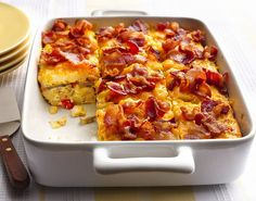 Bacon, Egg, Hasbrown Casserole - When I make this again I would layer about half the bacon in with the vegetables and season the hashbrowns