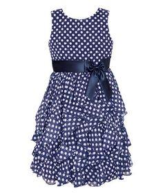 Navy Polka Dot Hankerchief Dress - Toddler & Girls