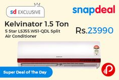 Snapdeal #super #DealofTheDay is offering Kelvinator 1.5 Ton 5 Star LSJ55.WS1-QDL Split Air Conditioner @ Rs.23990. Warranty: 1 Year on Unit + 4 Years on Compressor, 5 Star Cooling, Capacity: 5190 W EER: 3.51 W/W Condenser, Material : PFC, Blue fin Evaporator, Dehumidification, Turbo Cool Mode.  http://www.paisebachaoindia.com/kelvinator-1-5-ton-5-star-lsj55-ws1-qdl-split-air-conditioner/