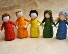 Rainbow Children Waldorf inspired needle felted doll: GIRL OR BOY.Made to Order