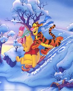 Winnie-the-Pooh, Tigger, Eeyore & Piglet Disney Christmas, All Things Christmas, Winter Christmas, Christmas Time, Merry Christmas, Christmas Scenery, Winter Fun, Winne The Pooh, Winnie The Pooh Quotes