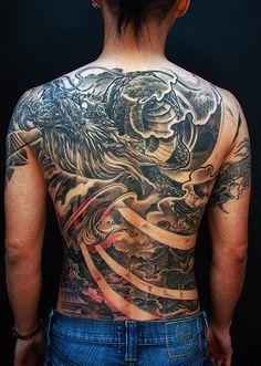 Toronto tattoo shop - Dragon and Temple full back tattoo Dragon Tattoo Colour, Black Dragon Tattoo, Dragon Tattoos For Men, Dragon Tattoo Back Piece, Japanese Dragon Tattoos, Dragon Tattoo Designs, Tattoo Designs Men, Color Tattoo, New York Tattoo