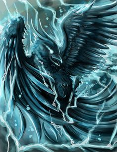 Raicho is a fabulous bird in the legends and folklore of Japan.  It is the terrifying Thunder Bird whose calls bring the fear of the storm...