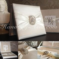 Luxury Wedding Invitation Box - Off-White with imported rhinestone crystal from Europe